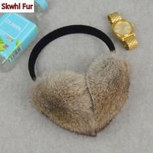 Russian Women Winter 100% Real Rabbit Fur Earmuffs Winter Girls Plush Rabbit Fur Ear Muffs Thermal Lady Warm Rabbit Fur Earmuff