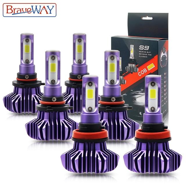 BraveWay หลอดไฟ LED AUTO LED ICE หลอดไฟ H4 H7 H11 LED ไฟหน้า 9005 9006 HB3 HB4 ไฟหน้า 12000LM 6500K 80W 12V รถ (LED)