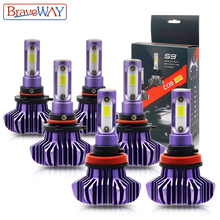 BraveWay LED הנורה עבור אוטומטי Led קרח הנורה H4 H7 H11 Led פנס 9005 9006 hb3 hb4 פנס 12000LM 6500K 80W 12V רכב אור (LED)