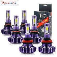 Braveway conduziu a lâmpada para o auto conduziu a lâmpada de gelo h4 h7 h11 conduziu o farol 9005 9006 hb3 hb4 farol 12000lm 6500 k 80 w 12 v luz do carro (diodo emissor de luz)