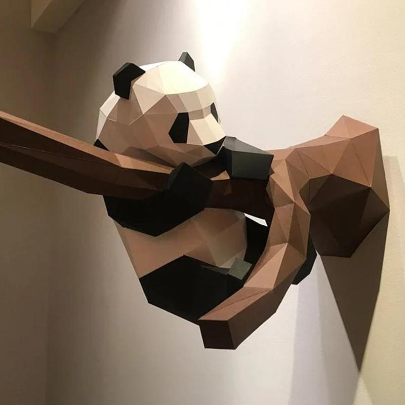 Creative 3D Panda Paper Model DIY Manual Paper Model Hanging Toy For Kids Gifts 3D Panda Animal Papercraft Model Wall Decorative