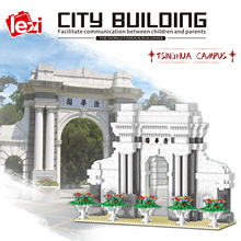 LEZI LZ8032 Miniature Diamond Small Particle Model Series Tsinghua University Modular Building Blocks Bricks Children's Toys