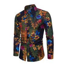 2020 New Fashion Casual Men Shirt Long Sleeve Europe Style Slim Fit High Quality Cotton Floral Shirts Mens Clothes