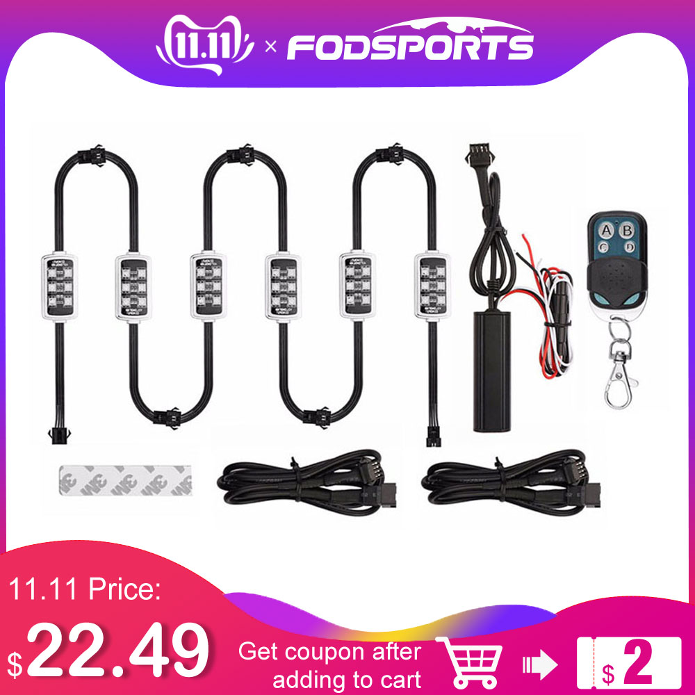 Motorcycle/Car Atmosphere Light 6 RGB 36 LED With Wireless Remote Control Smart Brake Lights Moto Decorative Strip Neon Lamp Kit