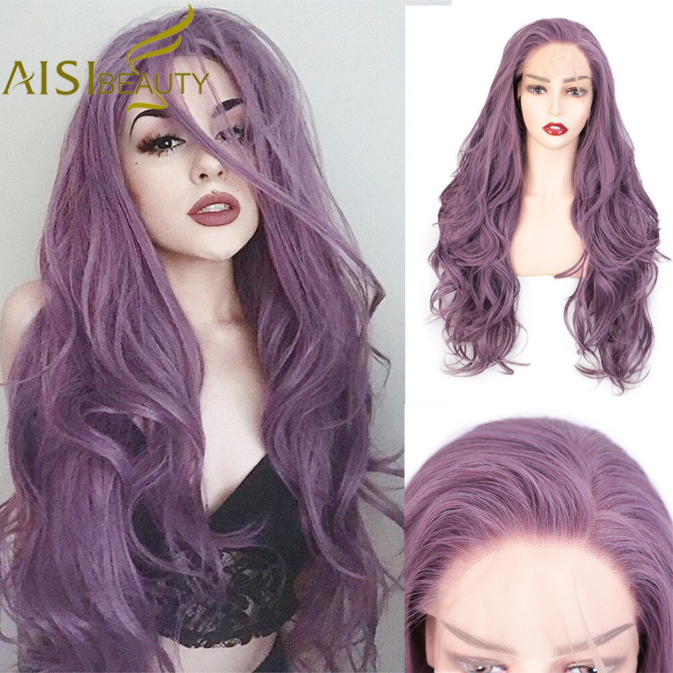 AISI BEAUTY Synthetic Lace Front Wig Long Wavy Purple Wigs For Black/White Women Cosplay Ombre Pink Brown Black Grey Blonde Wigs