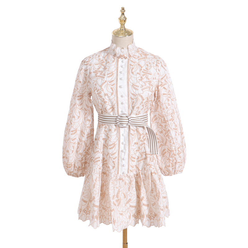 [LIVIVIO] Beige Hollow Out Lace Embroidery Lantern Long Sleeve Single Breasted Stand Neck A Line Mini Dresses Women ZIM Fashion