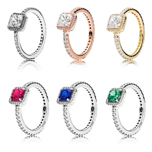 100% 925 Sterling Silver Square Sparkle Halo Rings Clear Cubic Zirconia Shiny Fashion Gifts