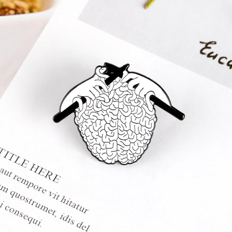 Knitting Brain Enamel Pin-Creative Enamel Pin-Punk Enamel Pin-Punk Pins-Hard Enamel Pin-Lapel Pin-Punky Pins For Backpacks