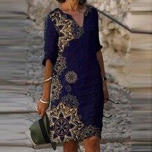 Summer Dresses Loose Length Plus-Size Long-Sleeved Women's Printed Fashion V-Neck V-Neck