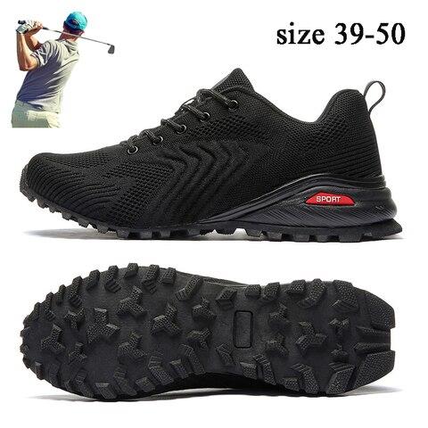 Sapatos de Golfe para Homens Sapatos de Caminhada ao ar Tênis de Golfe Novo Tamanho Grande Respirável Livre Anti Deslizamento Confortável Sprot Marca 39-50