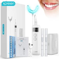 Dentes branqueamento kit escova elétrica led luz fria dental branqueamento com bandeja de dentes, dentes clareamento gel, retentor caso eua armazém