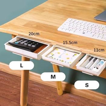 Samoprzylepna taca ołówkowa pod biurkiem szuflada Organizer Organizer do przechowywania na stole pudełka stojak samoprzylepna szuflada schowek tanie i dobre opinie CN (pochodzenie) Z tworzywa sztucznego