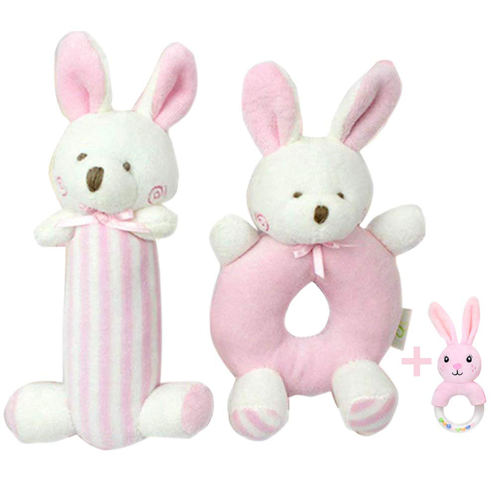 Baby Crib Toys Soft Rattle Rattle Pink Rabbit Baby Rattle Toys Soft Hand Rattle Bunny Plush Sensory Activity Toy Cart Toy Gift