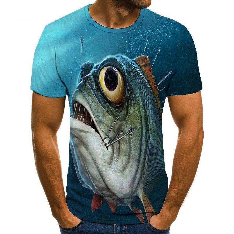 2019 Hot New Men Leisure 3d Printing T Shirt, Funny Fish Printed Men And Women Tshirt Hip Hop Print T-shirt Top Fishing T-shirt