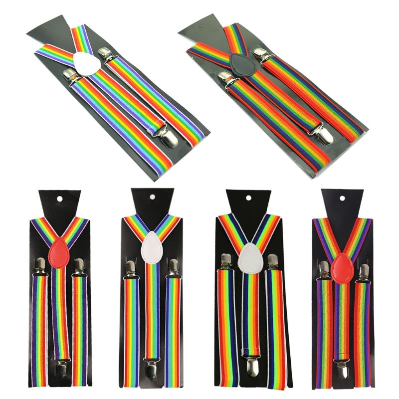 Unisex Wide Adjustable Y-Back Suspenders Rainbow Colorful Striped Belt With Clip NEW