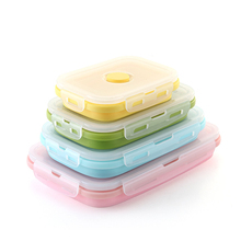 1-4pcs Silicone Lunch Box Collapsible Portable Bowl Bento Boxes Folding Food Container 350/500/800/1200ml Eco-Friendly