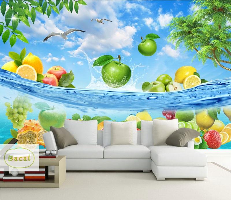 Bacal Custom Modern Fruits Vegetables Mural Wall Sticker Kitchen 3d Wallpaper Mural Wallpaper Heat Resistance Diy Home Decor Wallpapers Aliexpress
