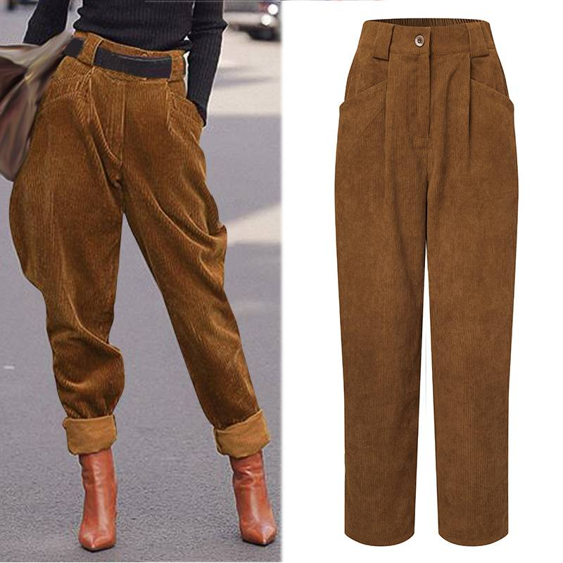 Winter Harem Trousers Women High Waist Corduroy Pants Celmia 2021 Autumn Pockets Casual Loose Solid Harajuku Buttoms Oversized