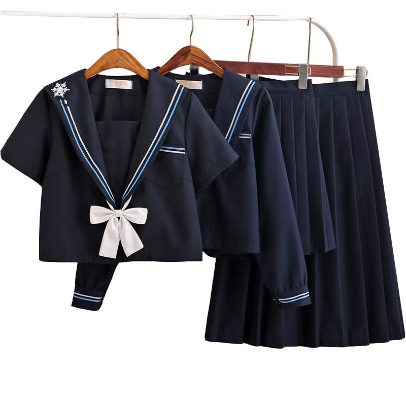 UPHYD New Summer Snow Embroidery Short Sleeve Japan School Uniform Navy Sailor Suits Student JK Uniform