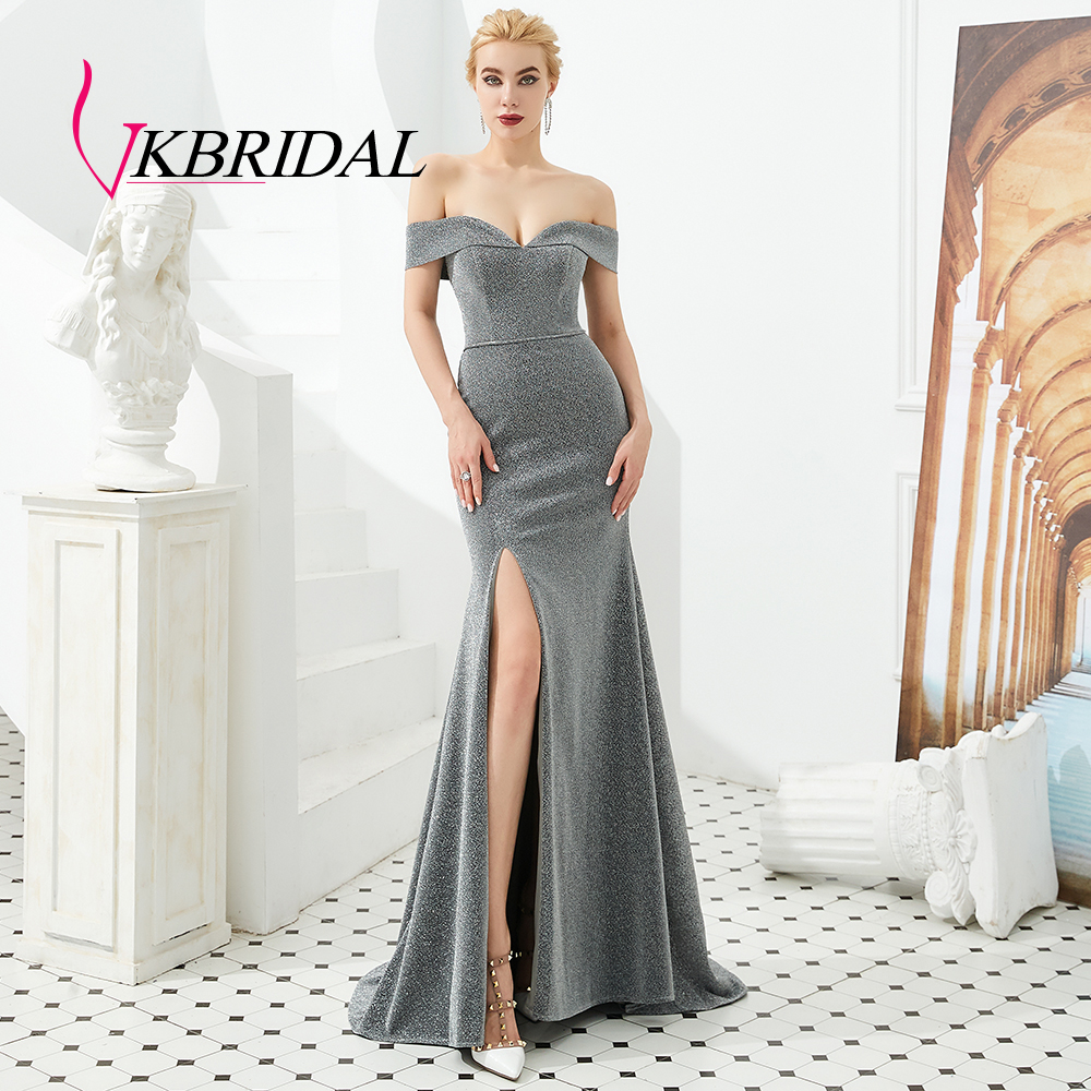 VKbridal Sexy High Slit Off Shoulder Prom Dress Long Sparkling Mermaid Party Gowns Glittery Bridesmaid Dresses Plus Size