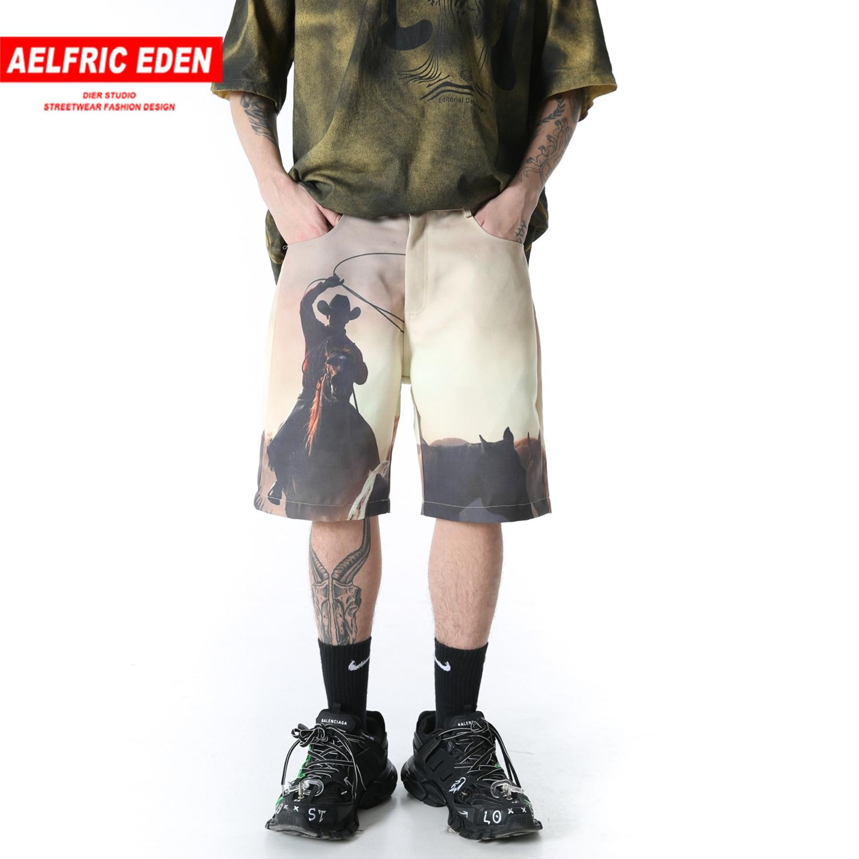 Aelfric Eden Oil Painting Print Vintage Cargo Shorts Men Harajuku Hip Hop Jogger Harem Casual Shorts Summer Streetwear Sweatpant