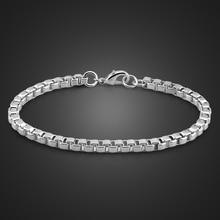 Men bracelet Genuine Solid 925 Sterling Silver Box Chain bracelet Men