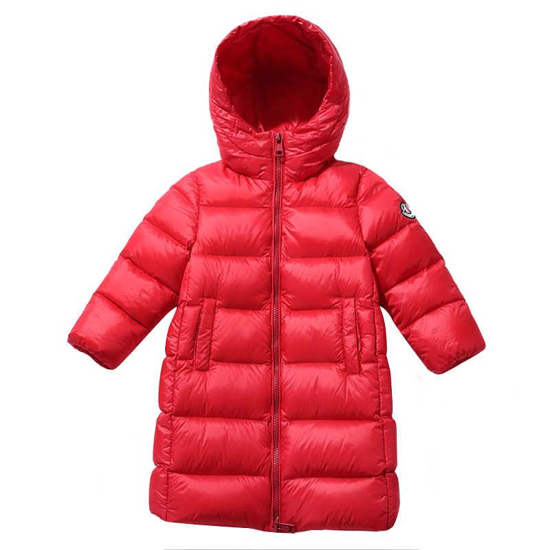 2019 winter neue dicke warme kinder sport unten jacke großer junge mädchen lange weiße ente unten mit kapuze unten jacke kinder kleidung
