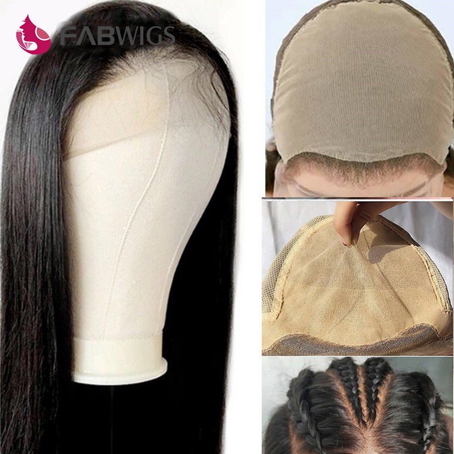 Fake Scalp Wig Transparent Full Lace Wig Invisible Bleached Knots Pre Plucked 13X6 Lace Front Fake Scalp Human Hair Wig Remy