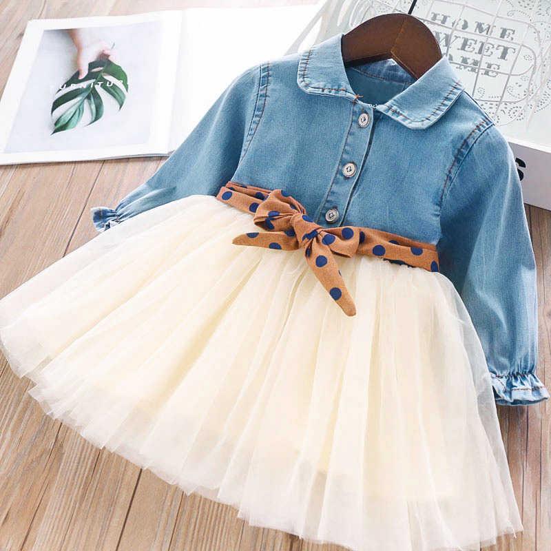 Bear leader/платье для девочек повседневное рождественское платье джинсовая рубашка с длинными рукавами и вышивкой и Сетчатое платье Одежда для девочек из 2 предметов