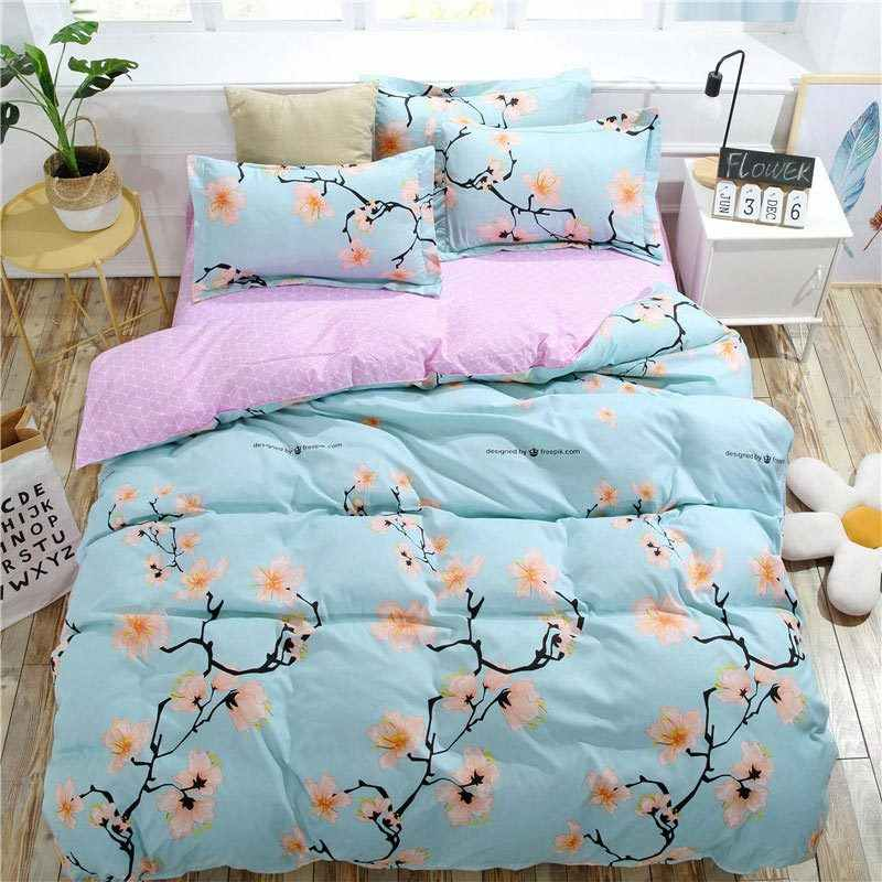 Peach Blossom 4pcs Kid Bed Cover Set Cartoon Duvet Cover Adult Child Bed Sheets And Pillowcases Comforter Bedding Set 2TJ-61004