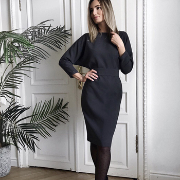 Women Vintage Back Button Sashes A-line Party Dress Long Sleeve Sexy V necK Solid Casual Elegant Mid Dress 2019 Winter New Dress 2
