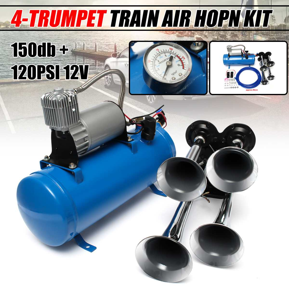 12 V/24 V 120 PSI 4 Train d'air Chrome corne trompette véhicule bleu compresseur tube 150dB