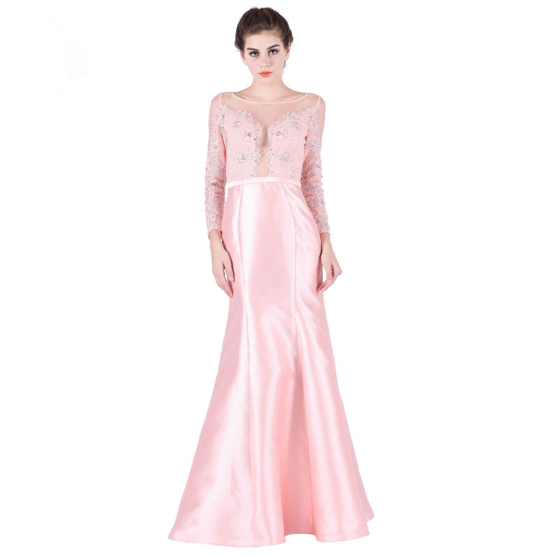 Elegant Prom Evening Gown 2018 Crystal Beading Long Sleeve Scoop-Neck Mermaid Robe De Soiree Vestido Mother Of The Bride Dresses