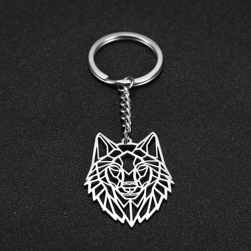 Skyrim Men Women Wolf Animal Round Charm Car Keychain Keyrings Stainless Steel Key Chains Holder Pendant For To Bag Gift