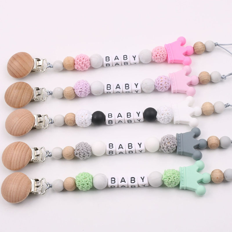 Customized DIY Baby Pacifier Clips Pacifier Chain With Beech Wood Holder For Infant Baby Shower Gift
