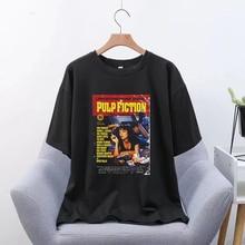 Pulp Fiction película moda Unisex camiseta estética camiseta de hip hop para hombres Streetwear Harajuku Vintage camiseta de gran tamaño