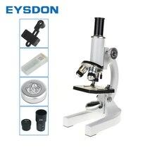 Eysdon microscópio biológico 2000x estudantes laboratório de ciência educacional com 5 peças de vidro microscópio preparado slides