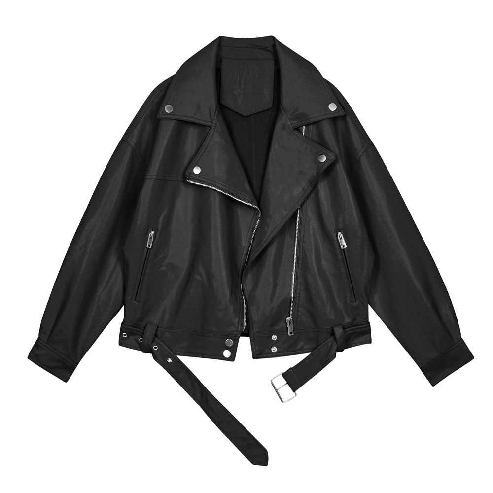 女性のpuレザーバイカージャケット春秋アプリコットショートトップコートストリートファッション黒女性パンク服 2020