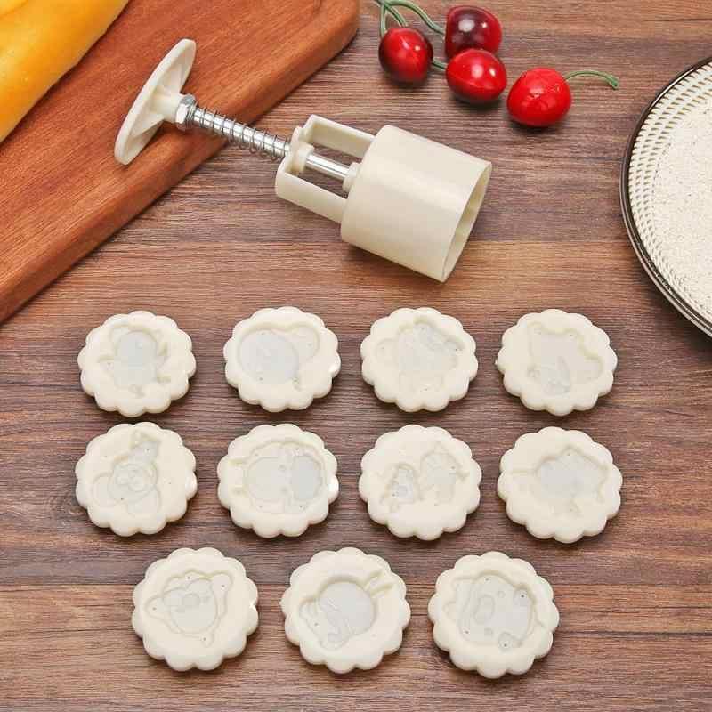 12 Zodiac Bulat Kue Bulan Cetakan Set Tangan Tekan Kue Cookie Panggang Alat Dekorasi