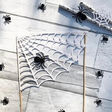 2PCS Spider Web Cake Toppers Pumpkin Happy Halloween Birthday Holiday Celebration Party Supplies CakeToppers Free Shipping