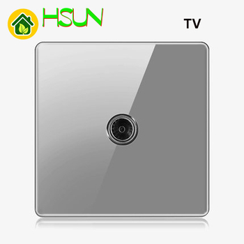 High-grade 1 2 3 4 gang 1 2 way big panel Grey switch socket Type 86 Wall 2.5D Cambered Mirror Toughened glass Computer TV 12