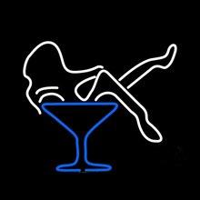 """Стекло мартини es девушка неоновая вывеска ручной работы Настоящая стеклянная трубка бар KTV магазин мотель паб безалкогольные напитки рекламный дисплей неоновые вывески 1"""" X 14"""""""