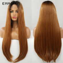 Emmor Synthetic Lace Front Wig Long Straight Brown Ombre Honey Blonde Wigs for Black White Women Daily Party Lace Furture Hair