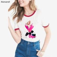 2019 harajuku love heart nail polish t shirt women watercolor print tshirt femme summer tops female t-shirt plus size