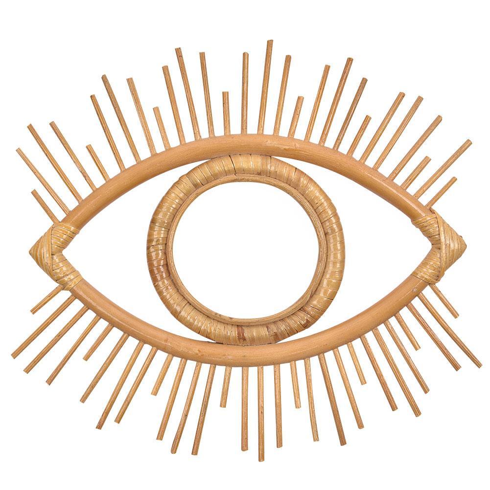 צורת העין דקורטיבי מראה קש חדשני אמנות קישוט עגול איפור מראה הלבשה אמבטיה קיר תליית מראה מלאכות