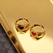 New Fashion 18K Gold Color Black Red Dripping Heart Love Rings For Women Best Friend Adjustable Gold Finger Ring Birthday Gift