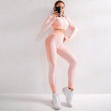 Conjunto esportivo feminino manga comprida zíper, peça conjunto feminino academia yoga zf287