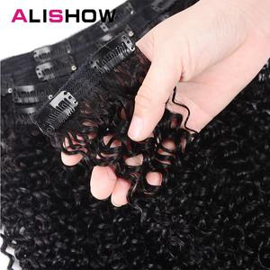 Image 3 - Alishow Indian Afro Kinky Curly Weave Remy Hair Clip In Human Hair Extensions Natural Color Full Head 10Pcs/Set 120G Ship Free