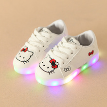 European new hot sales classic children shoes Lovely lace up kids sneakers cartoon LED infant tennis girls