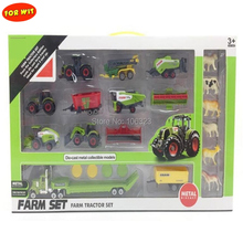купить 36set/lot New arrived Wholesale Farm Tractor Vehicle Model, Farmer Metel+Plastic Die-cast Collectible Car, 1:64 Play Toy & Hobby дешево